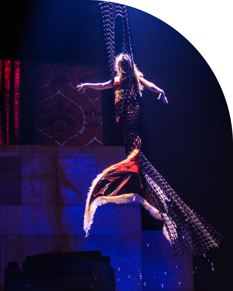 A woman in a regal outfit walks across a net suspended above a stage.