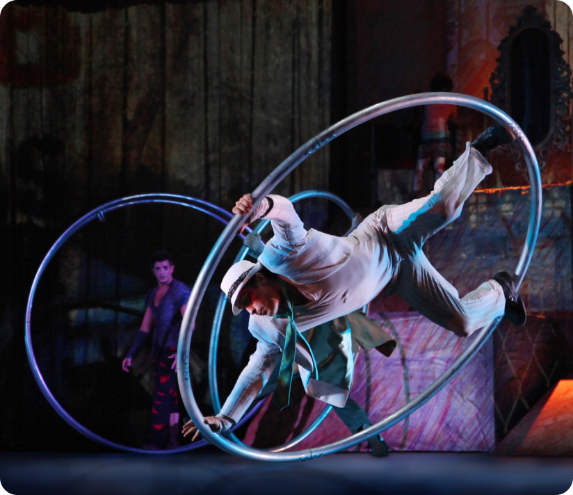 Performer holds onto a hoop as it rotates on stage